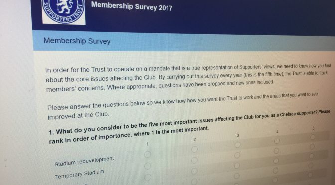 Chelsea Supporters' Trust Annual Survey 2017